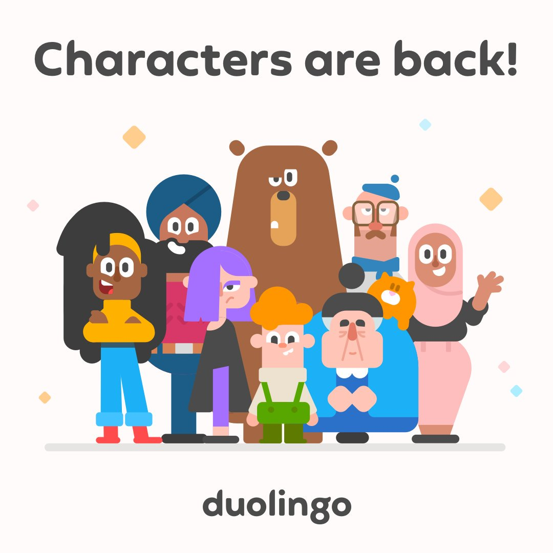 """Duolingo no Twitter: """"For those learning Spanish, French, and German on iOS: illustrated characters are back! From an unamused chef to a cat lady, enjoy a new cast of characters as you"""