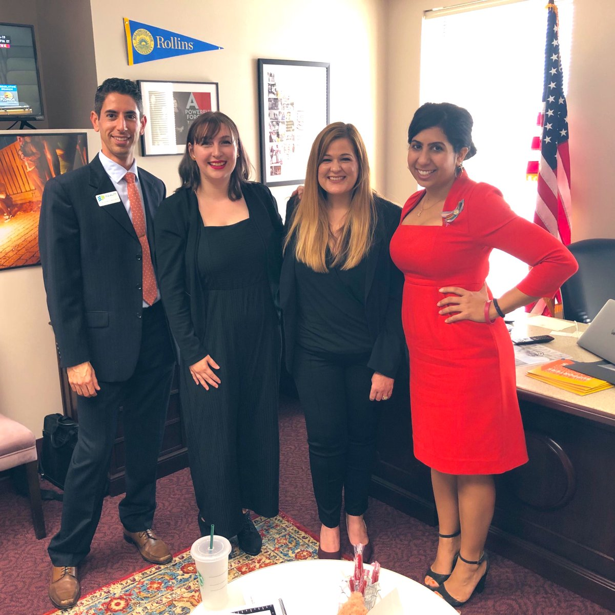 Met Monica yesterday— the incredible Brevard teacher who was fired at her publicly funded voucher private school for being gay. She is sharing her story far & wide, advocating for the passage of both #HB45 and @FLCompetes! We got your back, Monica. #Equality