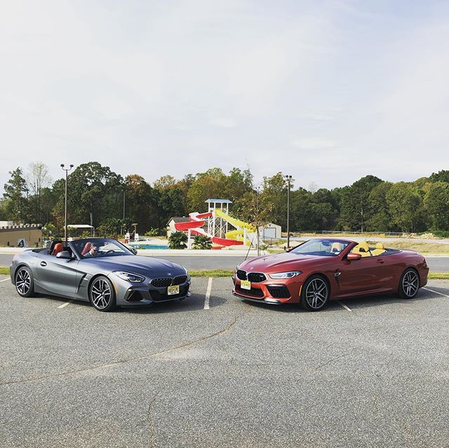 And you thought the $70,000 #Z4M40i was expensive yesterday... the #BMWM8 Convertible is more than twice the price at $157,000. But you do get a 600 HP twin-turbo V8 and 0-60 in 3.1 seconds. We actually preferred the #Z4 more. #BMWTestFest