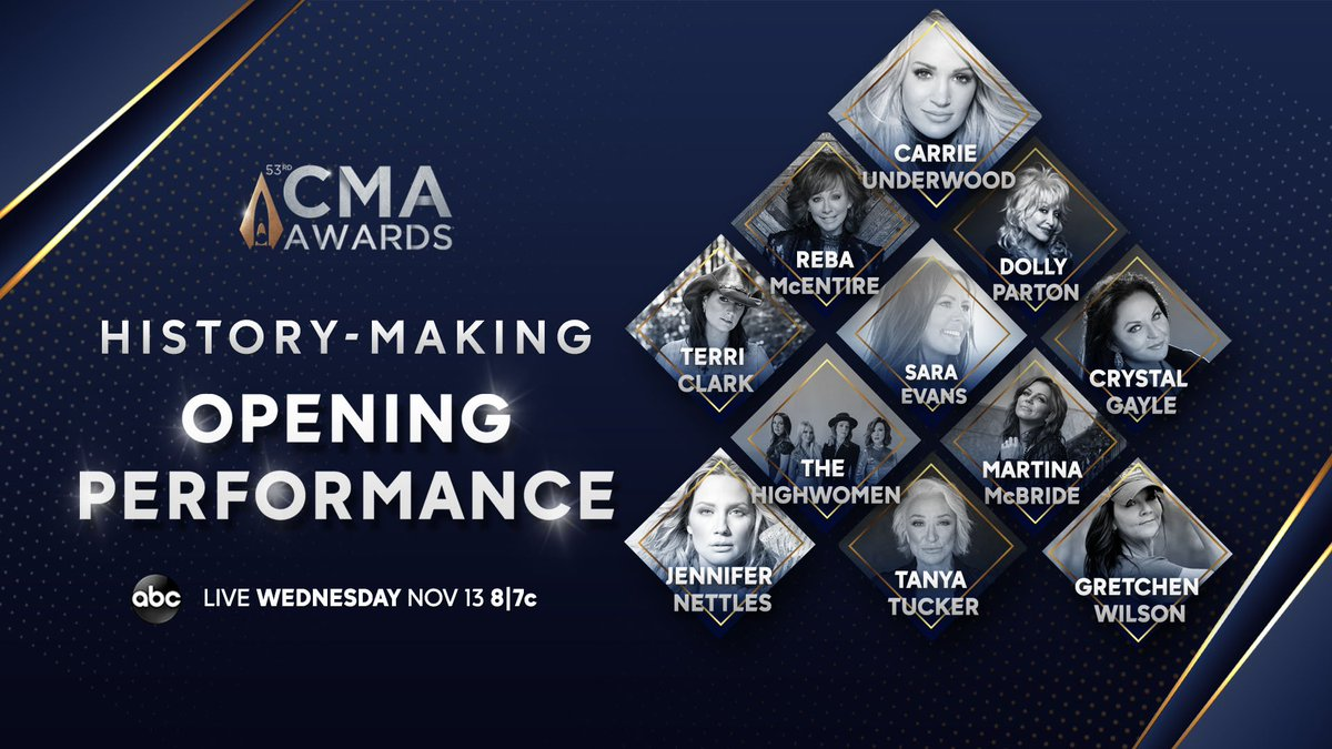 Kicking off #CMAawards with some country music powerhouses 🙌🏻 It's going to be so special! Tune in Wed. 8/7c on ABC to watch me perform with @carrieunderwood @reba @DollyParton @TerriClarkMusic @saraevansmusic @TheCrystalGayle @TheHighwomen @JenniferNettles @tanya_tucker @gw27