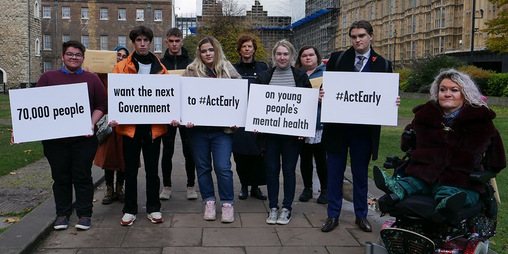 Today we handed in our #ActEarly petition to all leading political parties, calling for whoever forms the next Government to ensure that young people with mental health problems can get the help they need, as soon as they need it. Thank you for your ongoing support.