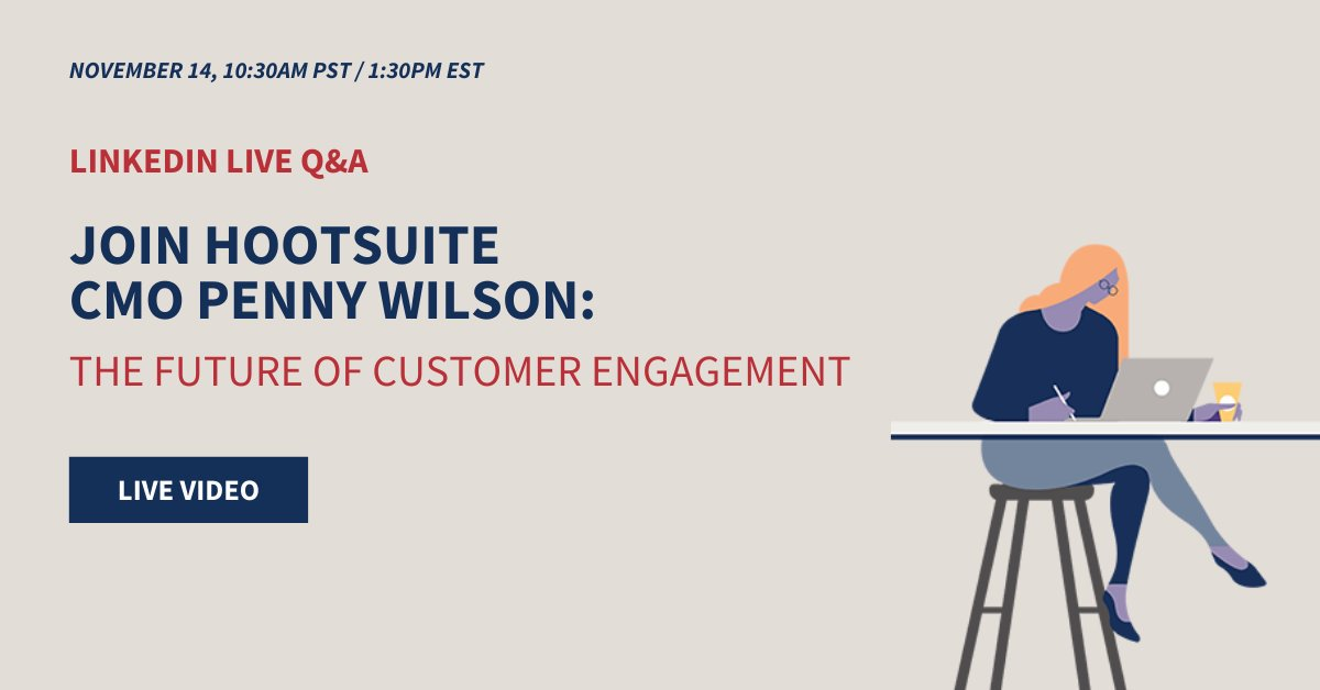 We're going LIVE on LinkedIn with our very own CMO @hootpenny and PR Manager @samantha_falk on November 14 at 10:30 AM PST 🙌 Tune in and get your questions answered about the future of customer engagement on social: ow.ly/vGiC50x49yR