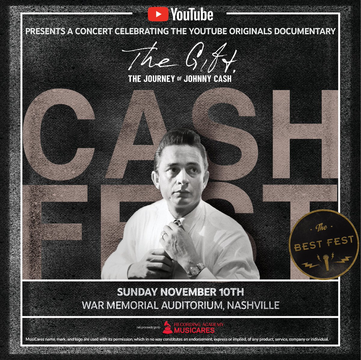 Excited to perform at #CashFest in Nashville to celebrate the premiere of @YouTube's The Gift: The Journey of @JohnnyCash 🎸 Tickets are available now → http://bit.ly/cashfest  #JohnnyCashTheGift