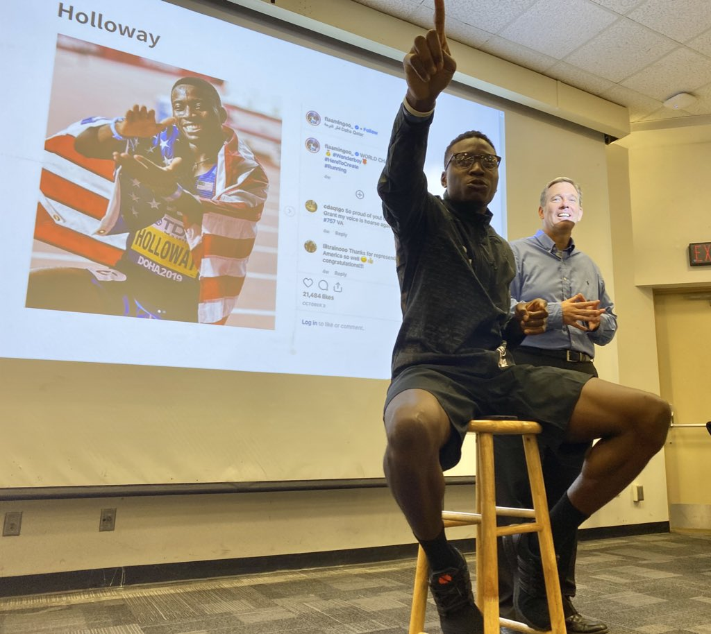 World champ @Flaamingoo_ stopping by his #SportsMediaUF today... Thank you! Photo by @Greenberry_b