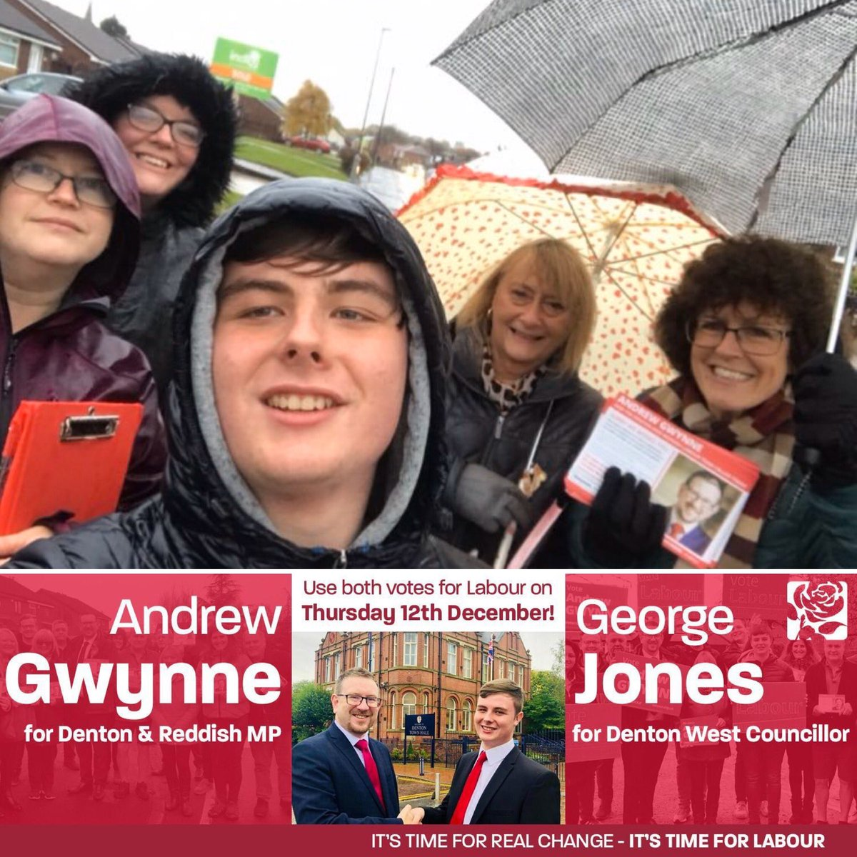 Great to see @GeorgealexJones and the @DentonReddish Labour Team on the #LabourDoorstep this afternoon in Denton West (where there's also a local by-election on 12 December) I was in Darwen launching a #ByTheMany rally with @AlysonDBarnes and @jeremycorbyn #TwoVotesForLabour