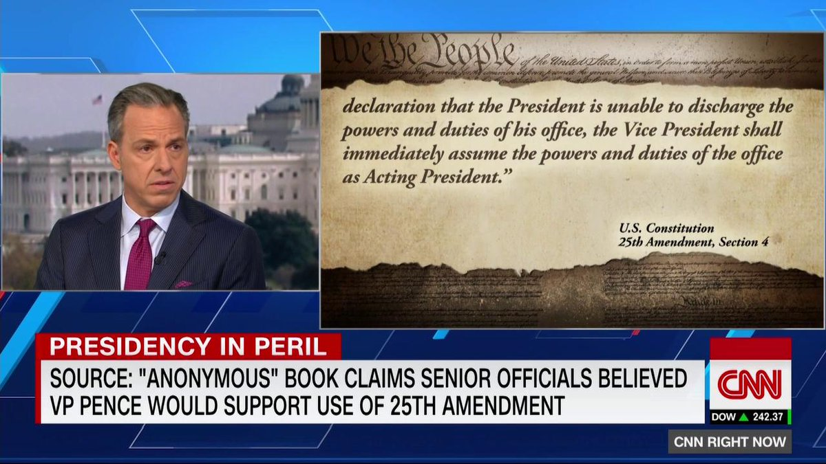 Source: Anonymous book claims senior officials believed VP Pence would support use of 25th Amendment. @jaketapper reports. cnn.it/2p172v2
