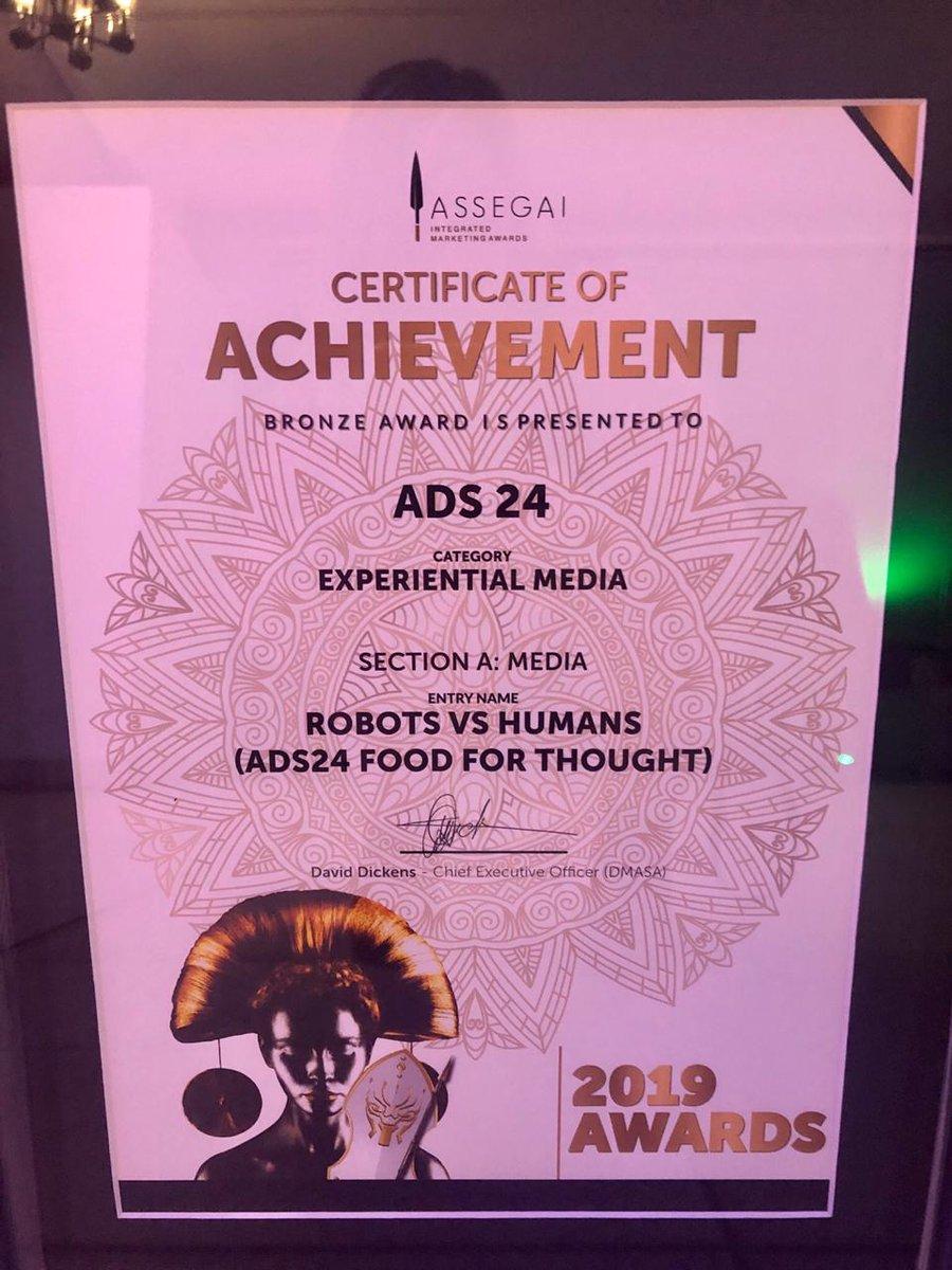 Ads24 takes Bronze @Assegai Integrating Marketing awards for Food for Thought: Robots v Humans. #Assegai2019 https://t.co/kpDZLZpb6m