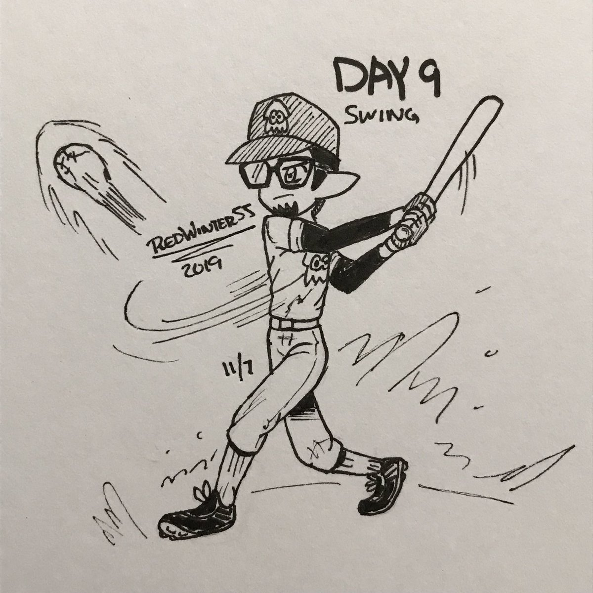 Inktober 2019 Day 9 -Swing. Me playing baseball. I played baseball when I was in middle school. #Splatoon #Inktober #Inktober2019 #InktoberDay9