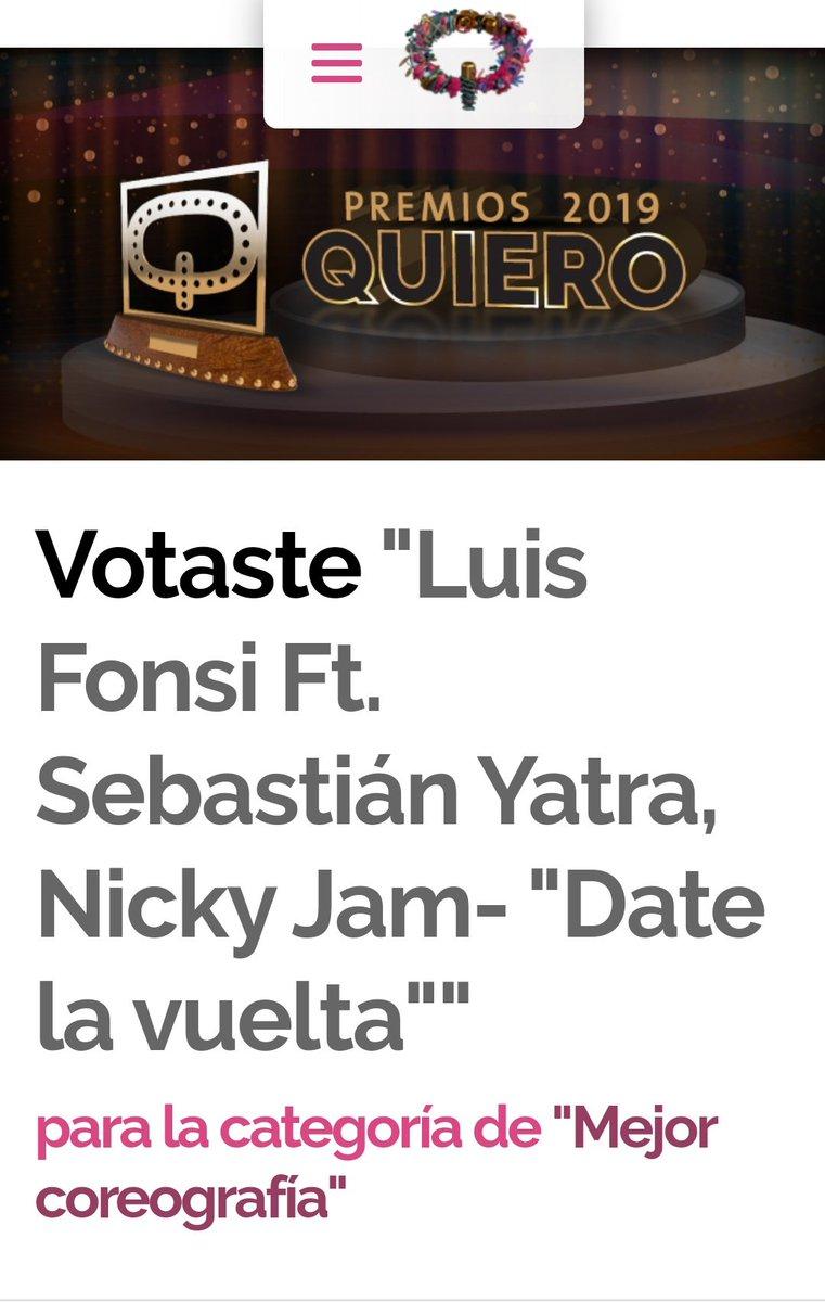 Votado!!✌🏼 #DateLaVuelta como #MejorCoreografia en los #PremiosQuiero2019!!🎊