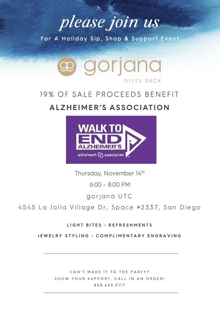 test Twitter Media - Happy to be a part of @gorjana_brand's in-store event! 19% of sale proceeds benefit our charity of choice @ALZWalkToEndAlz!  You can shop online & call the store all day to receive free shipping! Much love! 💜  Shop Online: https://t.co/IG1eaAVNFg Call In Number: 858-625-0117 https://t.co/3fWGvaRLhS