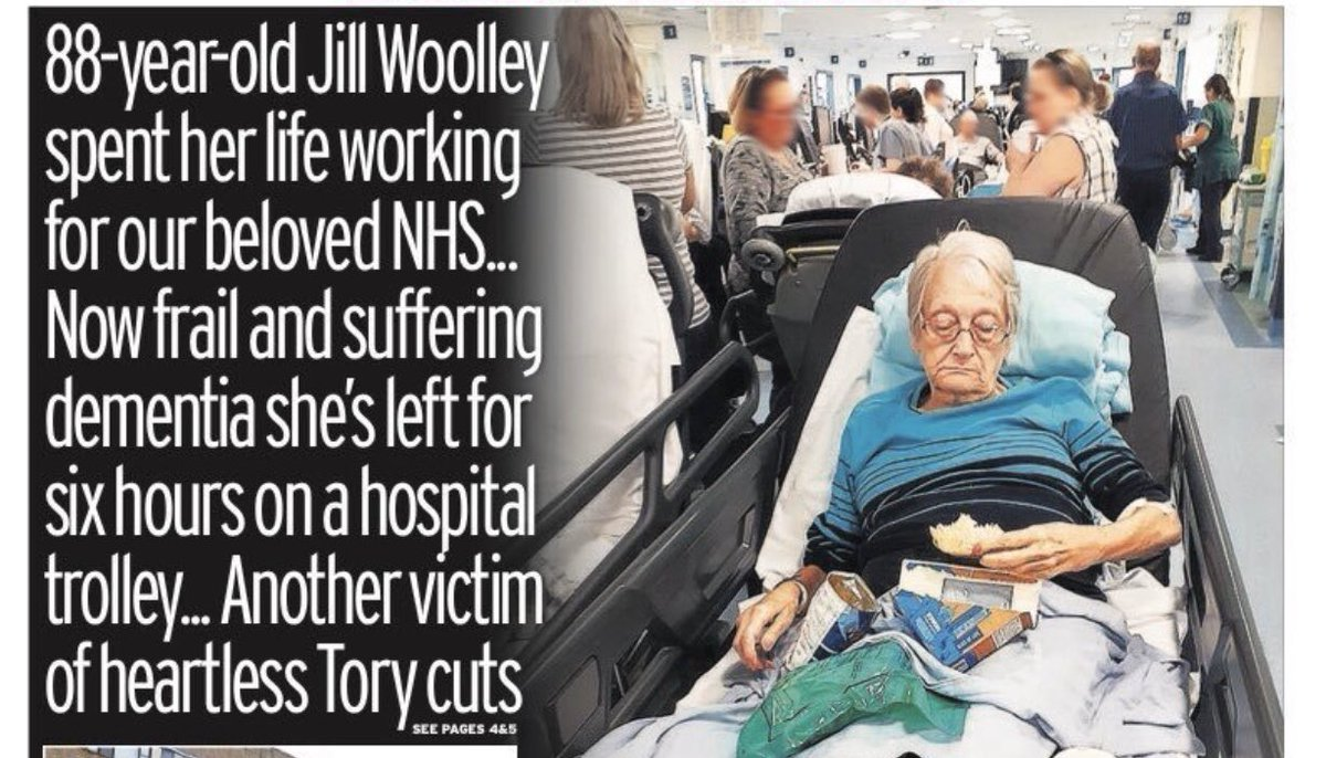 Front page of today's Mirror: the human cost of a decade of NHS underfunding. @BorisJohnson can lie about new hospitals all he likes - but NHS staff know exactly the havoc his party's cuts have wrought on our most vulnerable patients 😔