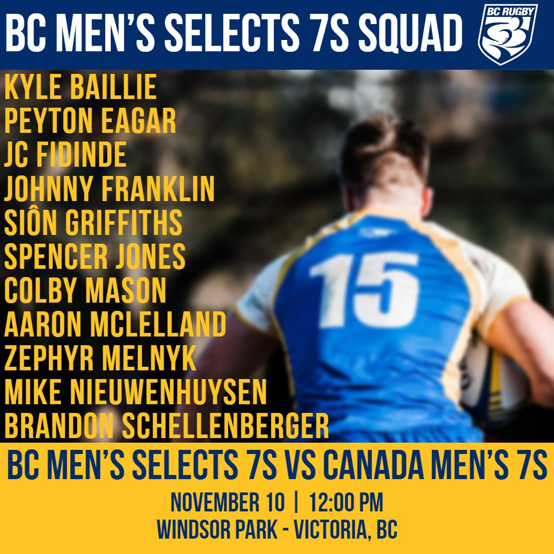 Your BC Selects 7s team set to take on the @RugbyCanada Mens Sevens this weekend in Victoria! Schedule and info: buff.ly/2Cmw6iW