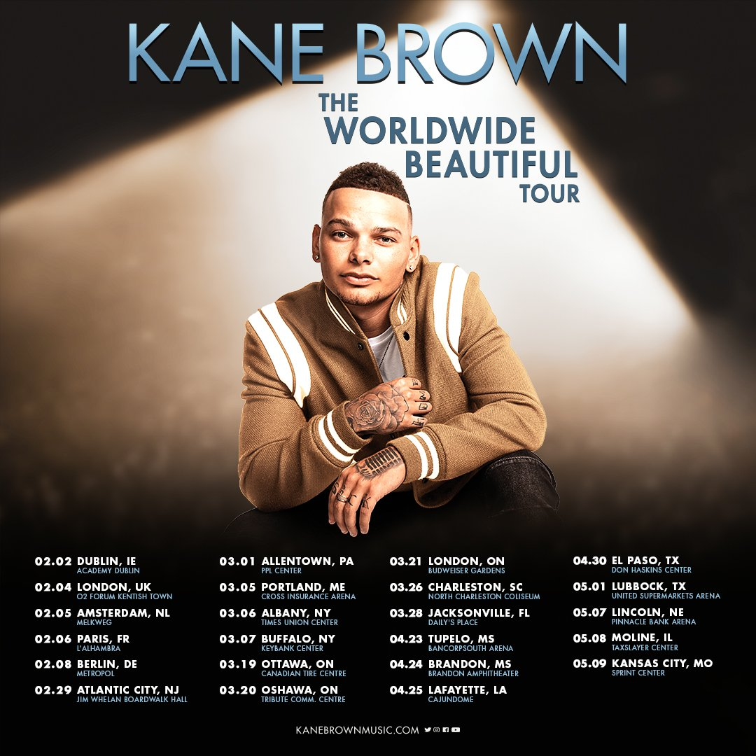 Kane Brown Tour 2020.Kane Brown On Twitter Announcing The Worldwide Beautiful