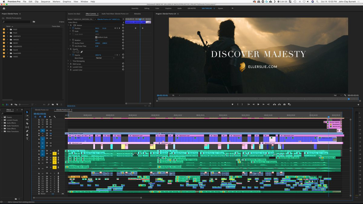 """Full editing timeline of the """"Ellerslie - Discover Majesty"""" project.  👉🏻 Full Video: https://t.co/rChXnjaO7p  Editing/Color: @johnclayburnett Sound Design: @lennendraw Music: @soundstripeapp  #connectwithyouraudience #editingservices #postproduction #storytelling #Ellerslie https://t.co/RssSFB5Ry1"""