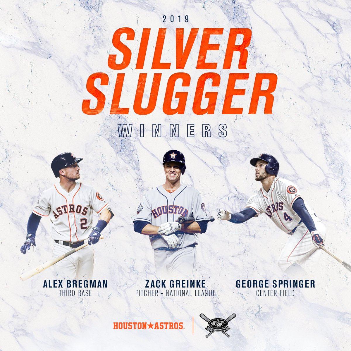 🗣 stick talk 🗣 Congratulations to Greinke, @ABREG_1 and @GeorgeSpringer on winning Silver Slugger Awards!