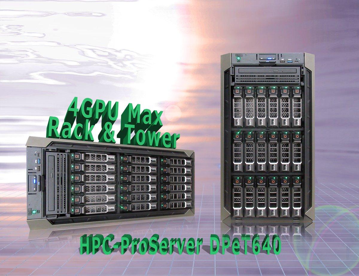 科学技術計算、機械学習等の極めて重いワークロードに応えるハイエンド2ソケットタワーサーバー。DWのGPUを最大4台搭載可能。最大18台の3.5inchHDD搭載可能。ラック搭載型シャーシ選択可能。   製品ページ:http://bit.ly/2xVCYAM      本日もよろしくお願いいます。