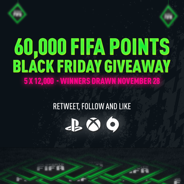 There's 1 week until Black Friday so we might as well start warming up😉 60,000 FP giveaway, Retweet, Follow and Like to Enter! We will randomly pick the winners Thursday 28/11 around 6 pm UK time👊#FIFA20 https://t.co/ajB2y8YJq0