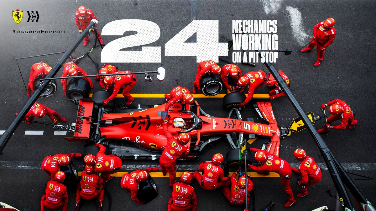 #DidYouKnow that 24 mechanics make up a single pit stop?  That means there are more than 2x football teams replacing 4 wheels in under 3 seconds 😲  #essereFerrari 🔴 https://t.co/NI1GXoORHv