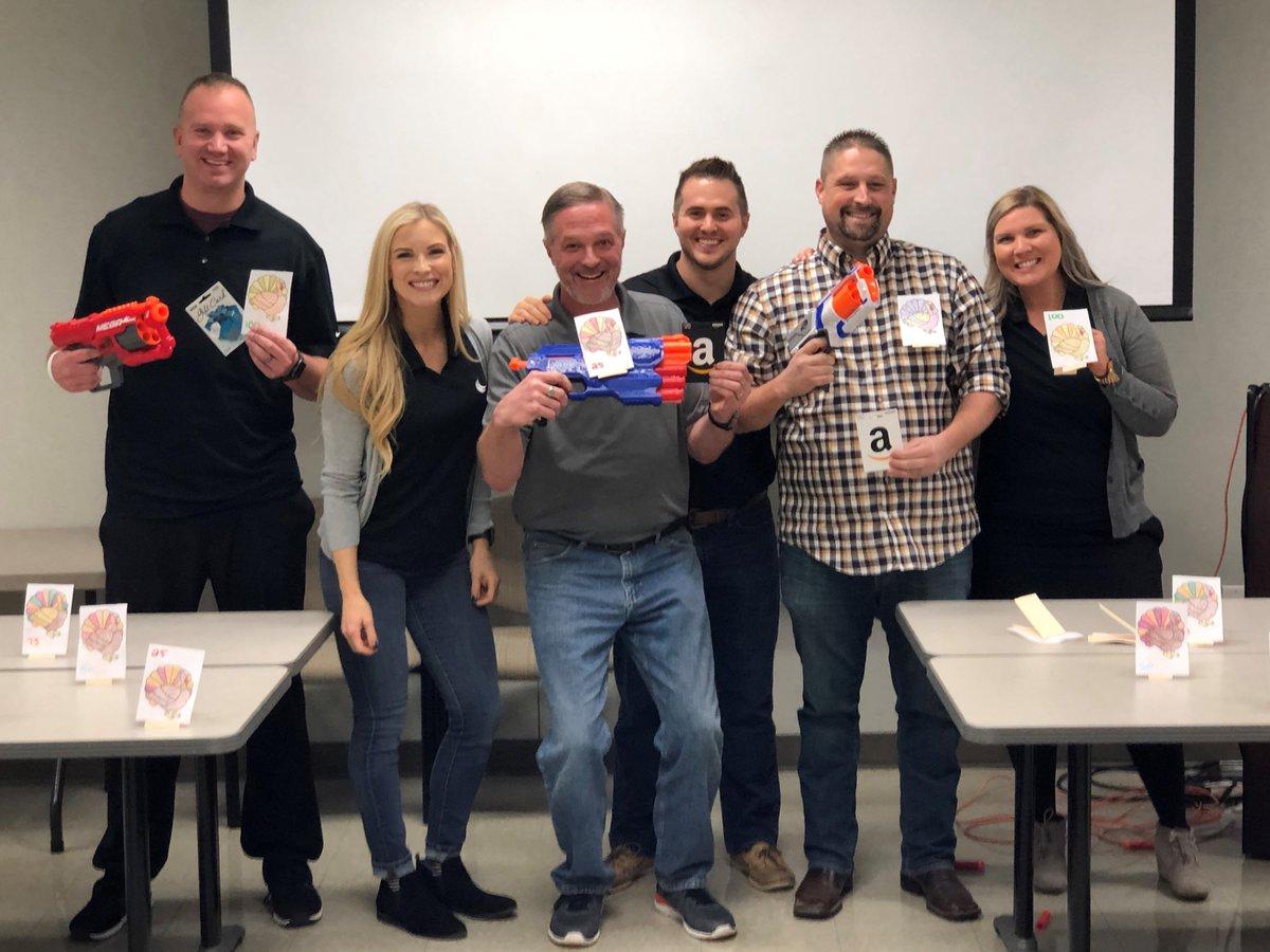 test Twitter Media - Our sales team Kate Orara, Cara Headrick, and Jason Welch training the @Think_BlueStar  sales reps. Our Turkey Shoot + Bingo training games were great! The winners at #BlueStar: 1st Place Josh Overton, 2nd William McDougall, 3rd John Snebold.  https://t.co/KMBbnMWWbD https://t.co/iMYiiEcuYZ
