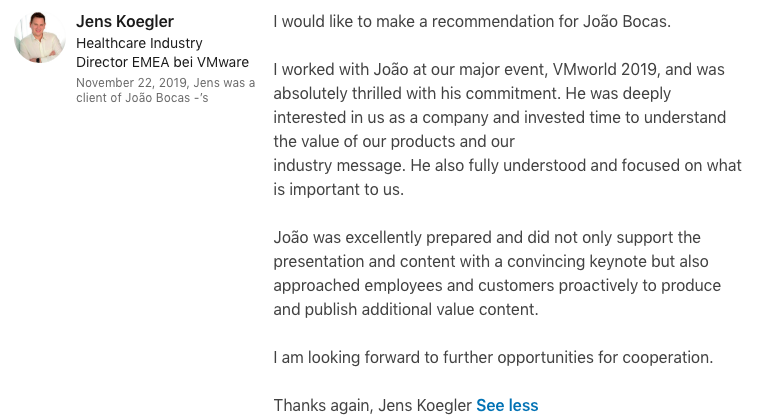 test Twitter Media - Thanks @JensKoegler @VMwareHIT @VMware   This is what inspires me to work hard every day - to achieve excellence for my clients, partners and associations.  #healthcare #IoT #digitalhealth #keynotespeaker #ArtificialIntelligence #Tech4good #TrustInTech #Cloud #5G #Influencer #B2B https://t.co/C3Lk0PCEgm