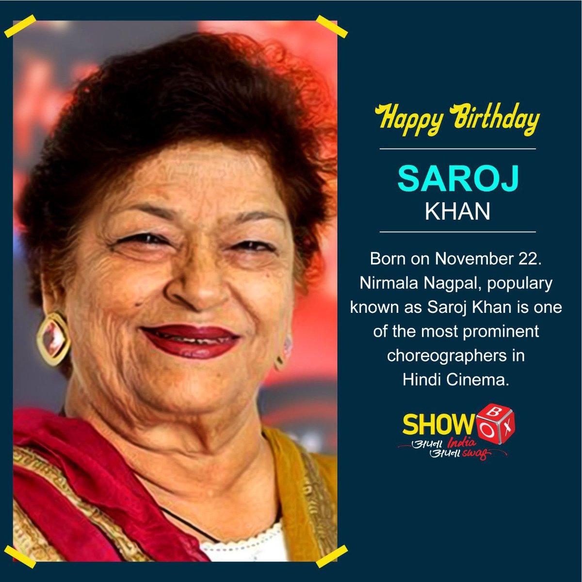 ShowBox wishes a very happy birthday to the real dance guru of Bollywood.  #HappyBirthdaySarojKhan #SarojKhan #DanceGuru #IndianChoreographer pic.twitter.com/JaT0P4H5hT