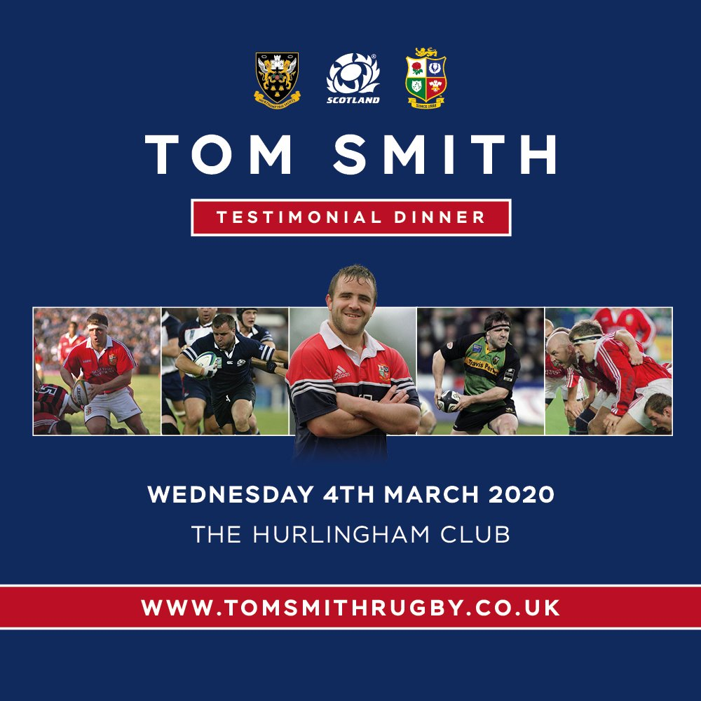 Lets do this! 💪🏉 Join Toms teammates from 🦁@lionsofficial 🏴 @Scotlandteam & 😇 @SaintsRugby 🗓️Wednesday 4th March @HurlinghamVenue 🥂Hosted by @GabbyLogan & @MartinBayfield ℹ️ Info:tiny.cc/2c7jgz 🎟️Tickets:tiny.cc/ur3hgz 🔗tomsmithrugby.co.uk