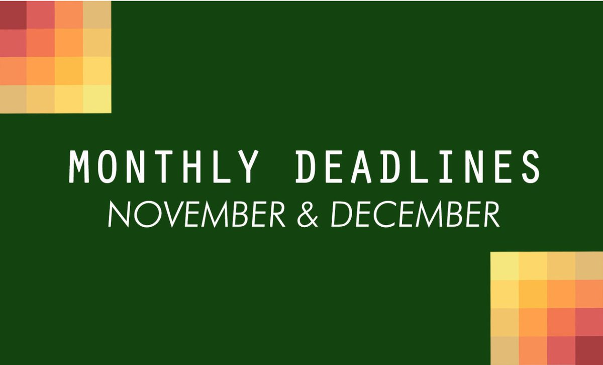 Literary contest deadlines in November and December, curated by @PalettePoetry |