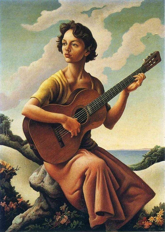"""Jessie with guitar"",1957 Thomas Hart Benton (American, 1889-1975). Oil on masonite. Jessie is Benton's daughter."
