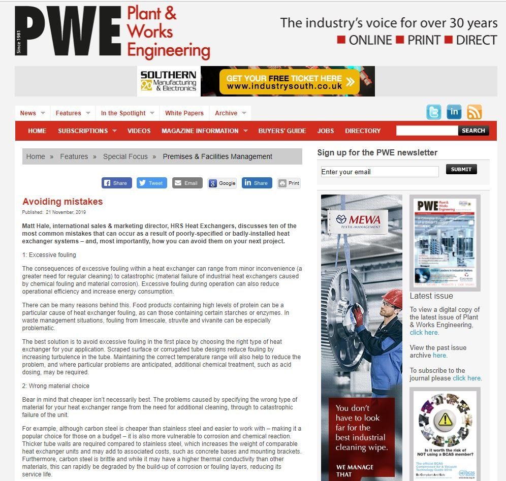 test Twitter Media - HRS Featured @PWEmagazine1 on Avoiding the ten most common mistakes that can occur as a result of poorly-specified or badly-installed heat exchanger systems. Read more: https://t.co/1IV23H7XUF #heatexchangers #toptentips https://t.co/zPE91CCne1