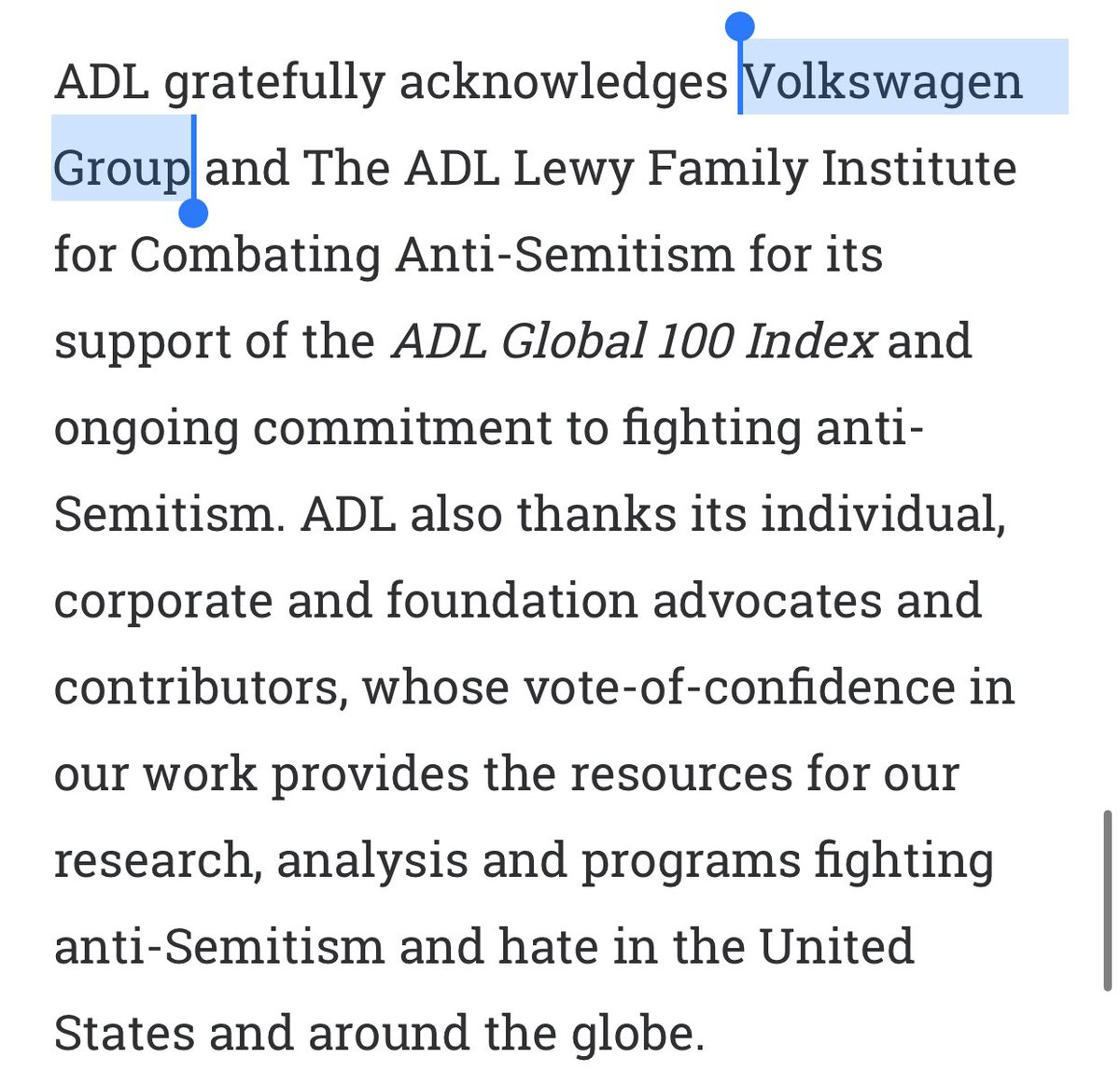 "Not bad @ADL. Thanking Volkswagen for financing report about ""antisemitism in the world"", where Poland is ""most antisemitic"". But not Germany - where there are dozens of examples (including murders) of real antisemitism and neo-nazi marching on the streets of Berlin. Ironic. https://t.co/LGe1VSIfo4"