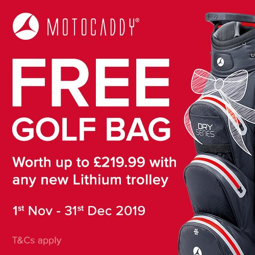 Receive a FREE golf bag worth up to £219.99 when you purchase any #Motocaddy Lithium trolley, right up until New Years Eve. bit.ly/2Ovh9Rp #Motocaddy #FreeBag #Promotion