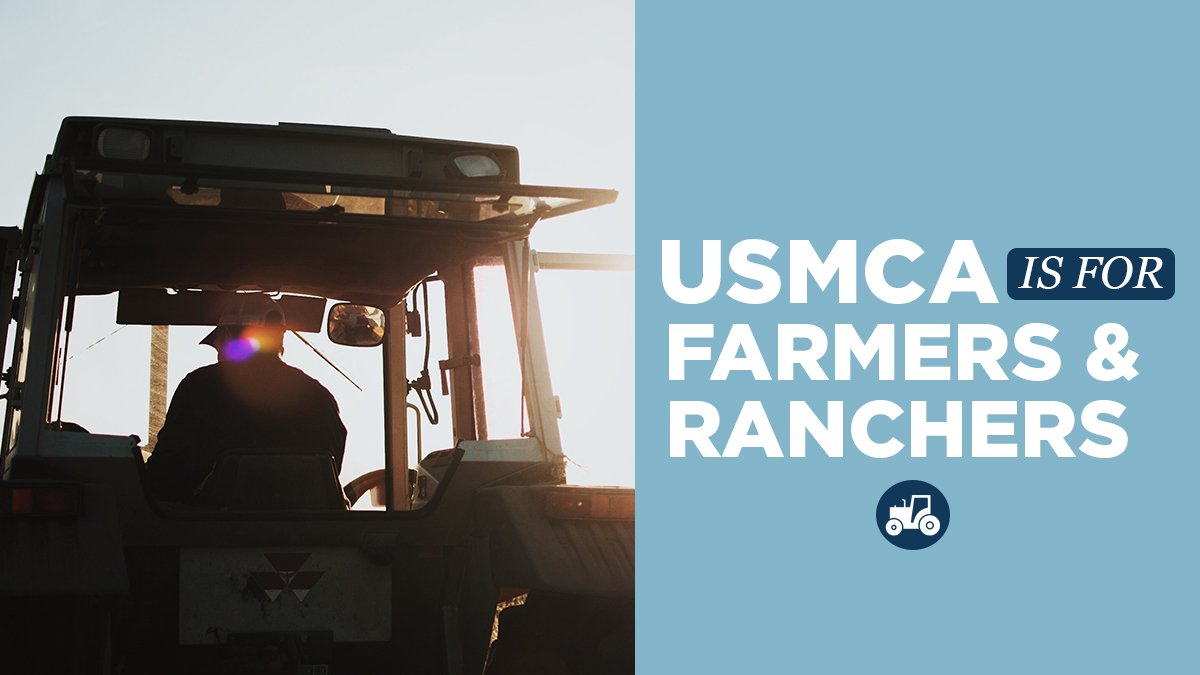 American farmers and ranchers rely on strong markets with Mexico and Canada.  #USMCA with strengthen these trade relationships and open the door for more export opportunities.  #USMCANow