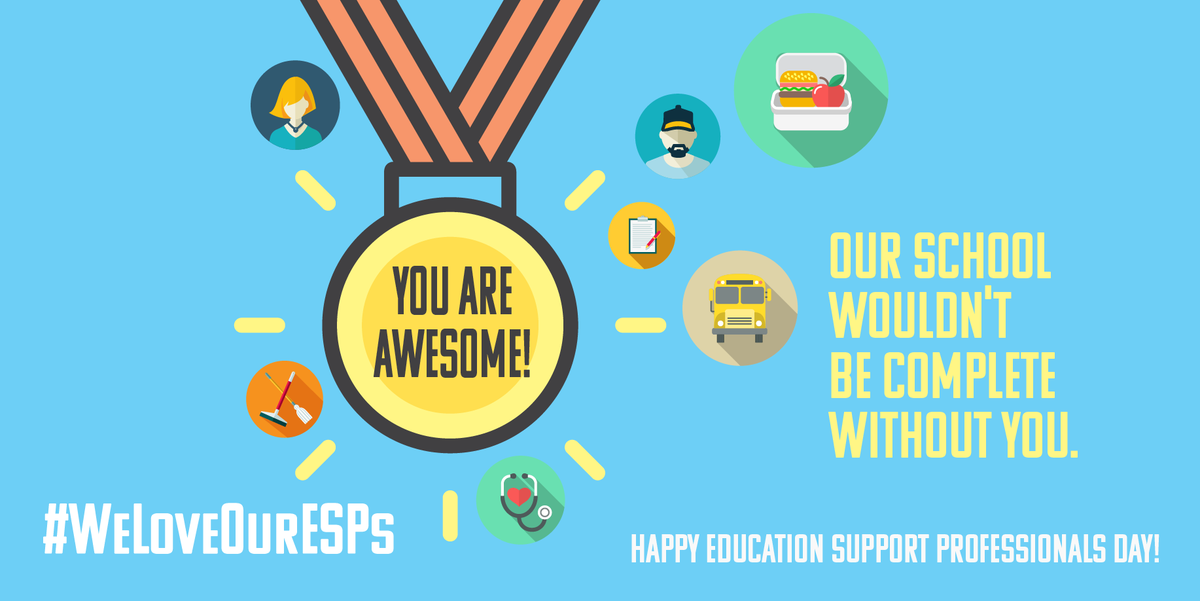 "Education Minnesota on Twitter: ""Happy Education Support Professionals Day!  ESPs are the foundation that make schools work. Thank you for making a  difference every single day! #AEW2019 #rESPect #WeLoveOurESPs…  https://t.co/9r3xxZXfDO"""