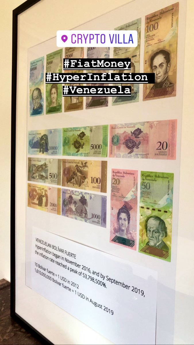 We have an interesting new art piece in our Crypto Villa in Zurich about the actual #HyperInflation in #Venezuela instagram.com/marcpbernegger #FiatMoney vs. #CryptoAssets via @CryptoFinanceAG