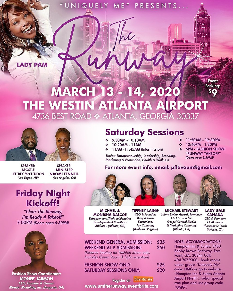 Get ready 4 Profound Teaching, Life Changing sessions on Leadership, Entrepreneurship, Branding, Marketing & Promotion, Health /Wellness & Fashion Show then Register Now Don't Miss the Runway Uniquely Me experience. Let's Go, Glow & Grow Together  https://umtherunway.eventbrite.com pic.twitter.com/PKDAQpSDvg