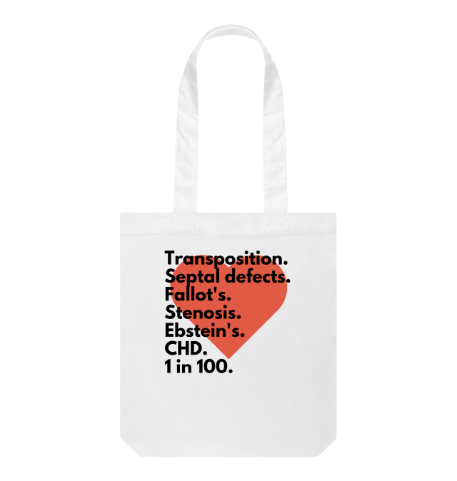 white tote bag with large red heart on front and text of names of congenital heart defects laid over in black type