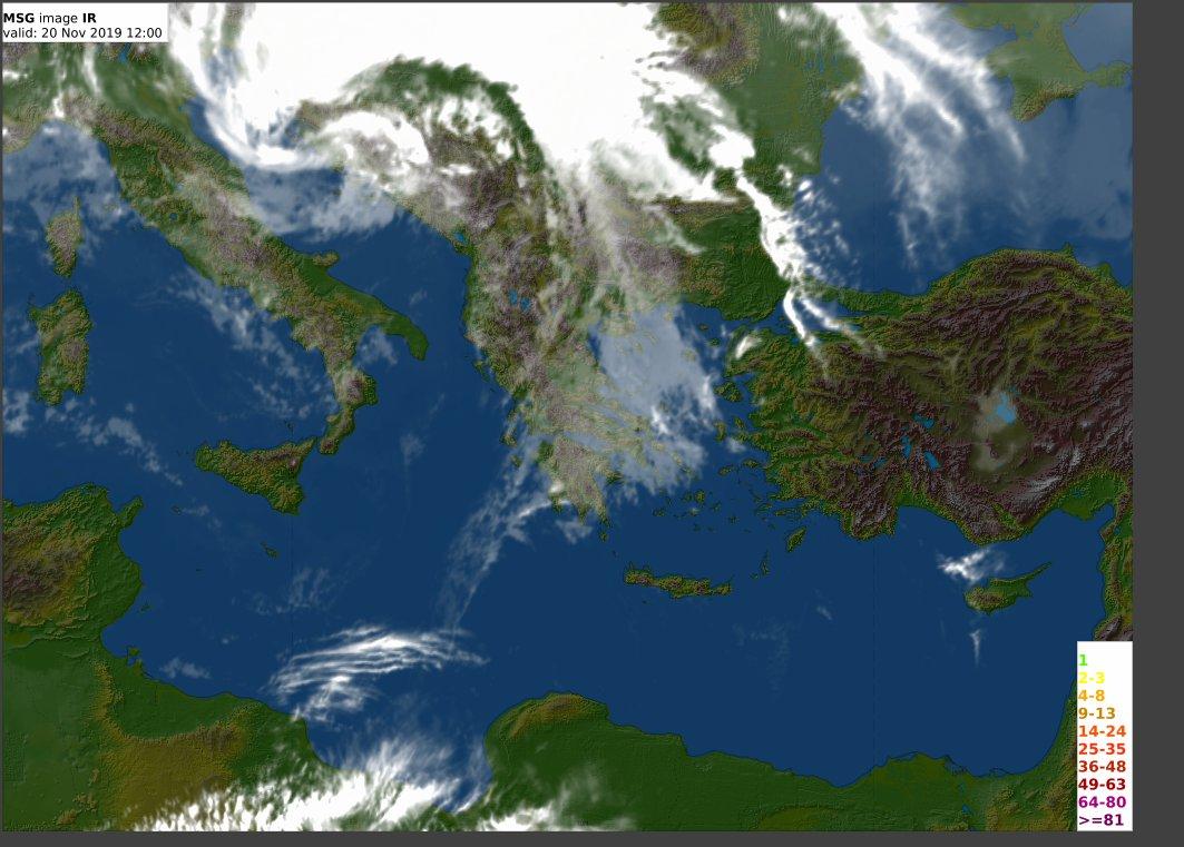 Απο την δορυφορική φωτογραφία αλλά κυρίως απο την ανάλυση του χάρτη επιφανείας προσδιορίζουμε το κέντρο του συστήματος (L) στις Δαλματικές ακτές με κίνηση Α-ΒΑ