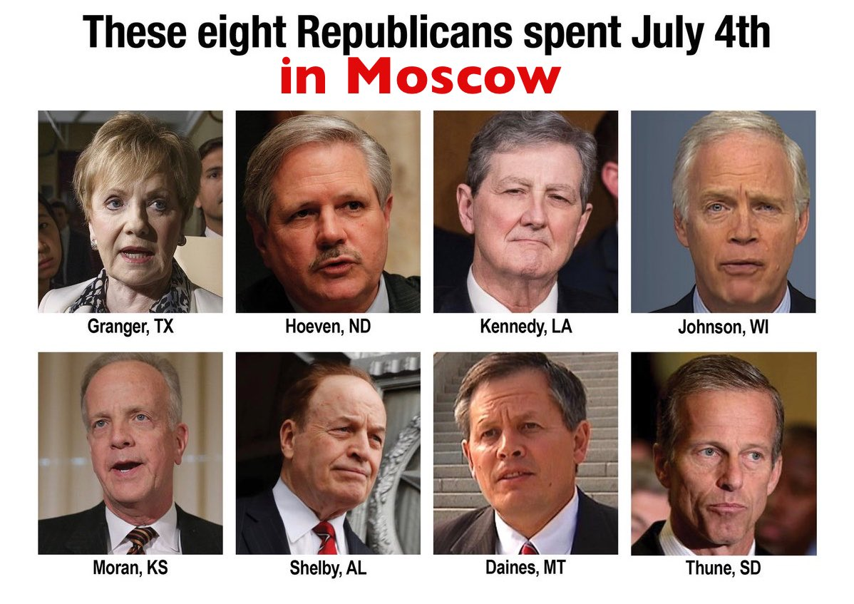 @GOPChairwoman @realDonaldTrump Until some republican can explain why eight @GOP US Senators spent July 4th in Moscow, you can just take a set a enjoy the impeachment!   #TeamTreason #TrumpRussia