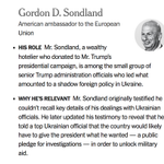 Image for the Tweet beginning: Who is Gordon Sondland and