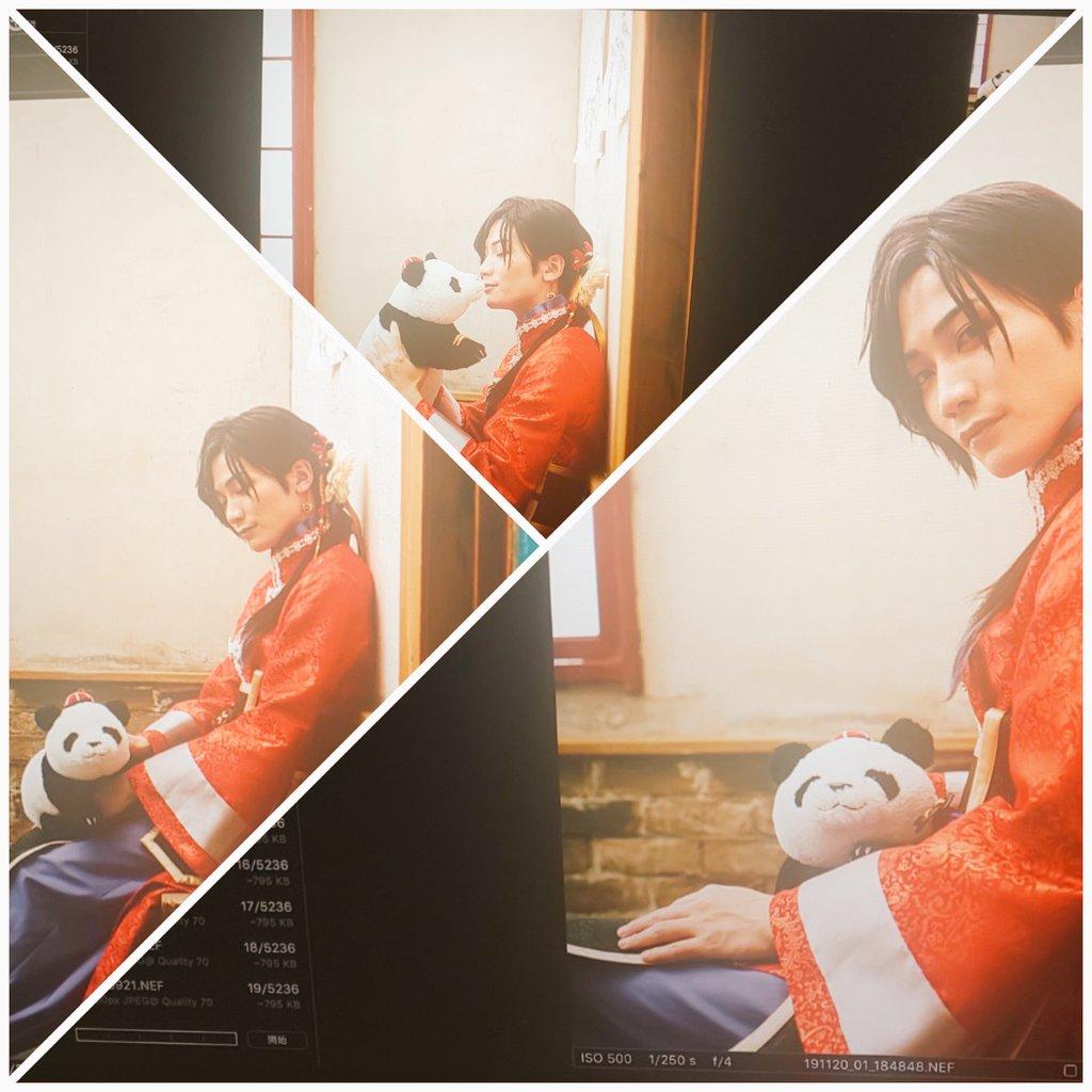 ☆おまけ☆撮影終盤合間の笹熊に甘い始さんのオフショットです。皆さん本日もお疲れ様でした!#目線ありがとうございました#笹熊触り心地最高です