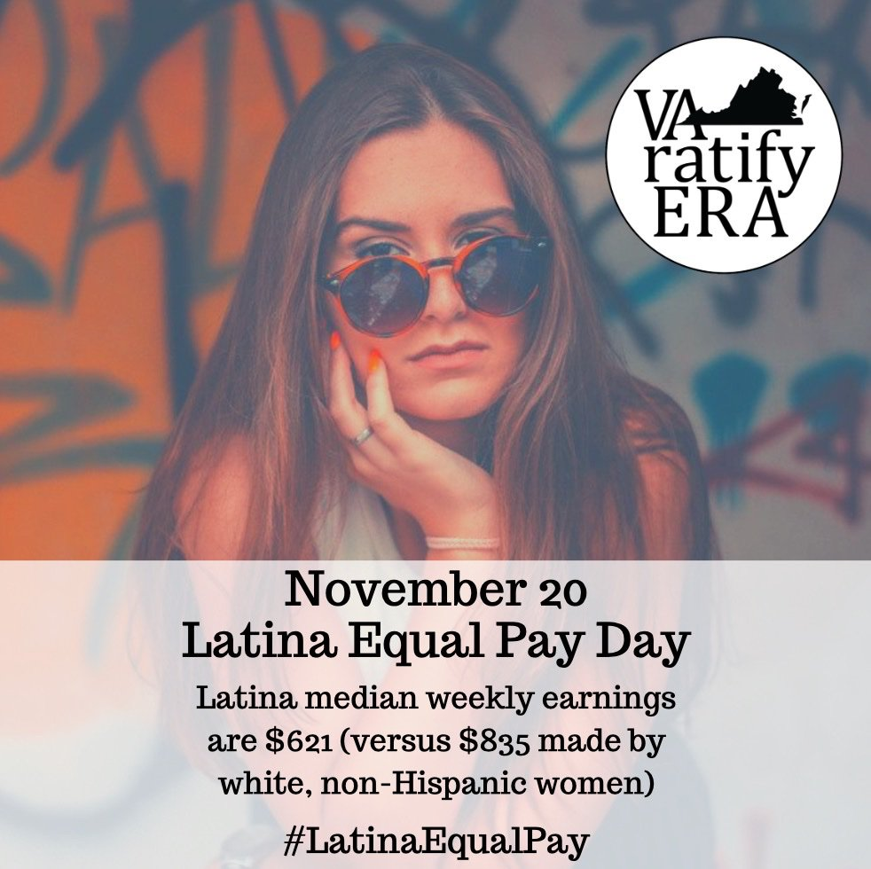 In Virginia, Latina women are paid just 53 cents for every dollar earned by white, non-Hispanic men. Latinas have the largest #genderpaygap  of ALL women. Take action-- https://www.latinaequalpay.org     #LatinaEqualPayDay  #VAratifyERA  #whyweneedtheERA