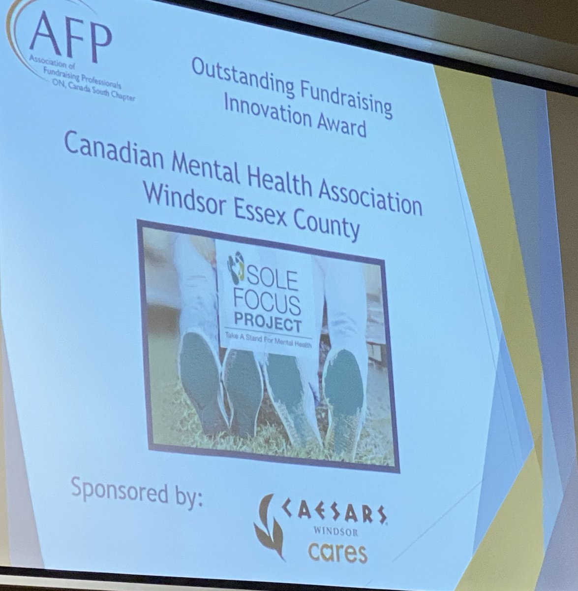 test Twitter Media - Congrats @kwillism @ClaudiadenBoer2  &  all #CMHA #YQG staff doing phenomenal work in @CityWindsorON @EssexCountyON At @AFPCanadaSouth awards ceremony #YQG with #NationalPhilanthropyDay Accepting Outstanding #Fundraising Innovation @CMHAOntario #solefocusproject https://t.co/adC4AYDDK0
