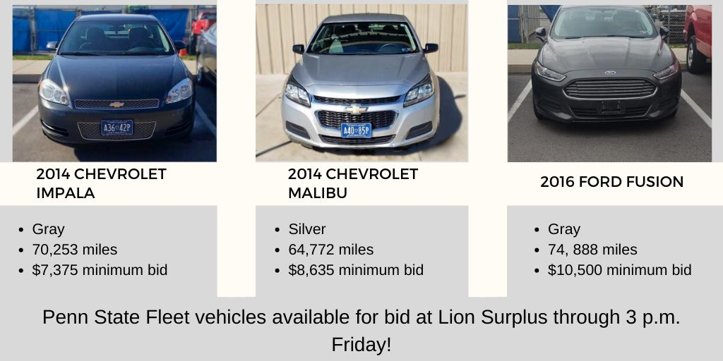Check out the Penn State Fleet vehicles up for bid at @LionSurplus! For more info on each vehicle, visit http://ow.ly/rEx650umuFV             Penn State Fleet vehicles available for bid at Lion Surplus through 3 p.m. Friday! #statecollege #chevysforsale #fordsforsale pic.twitter.com/TbprGxE66Y