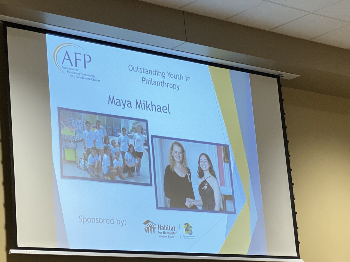 test Twitter Media - WTG Maya Mikhael!    for Outstanding #Youth in Philanthropy @AFPCanadaSouth awards #nationalphilanthropyday in #YQG @UWindsor.  Started at age 8 and now 14 - still going strong! Maya has humour, thanks God and her mentor @scolleyvegh ... her team & her parents! https://t.co/5uhsxv04ku