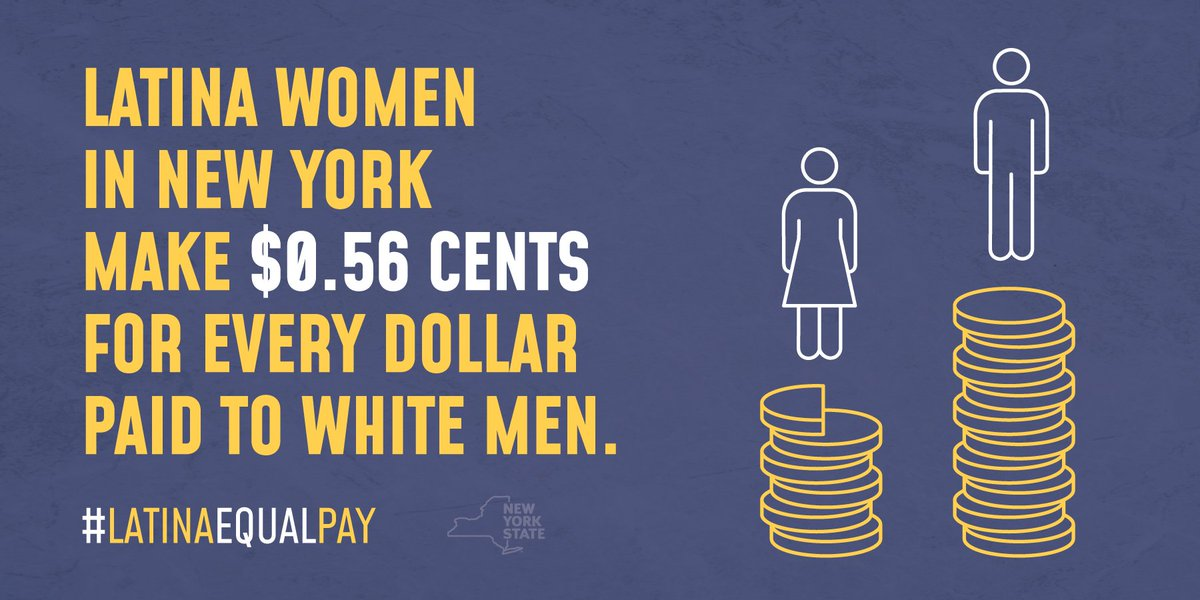 Today is #LatinaEqualPayDay, the day Latinas finally earn what white men made in 2018. NY is committed to closing this gap. This year we enacted a salary history ban & prohibited unequal pay for substantially similar work. We wont stop fighting until we achieve true equality.