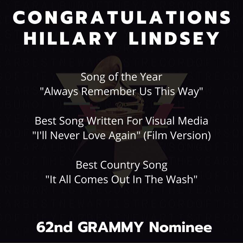 CONGRATS Hillary! 3 @RecordingAcad #GRAMMYNoms this morning!Including 2 songs she helped write for @ladygaa & Bradley Cooper's #AStarIsBorn AND @mirandalambert's #ItAllComesOutInTheWash #GRAMMYs