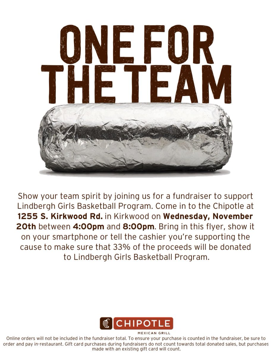 Head to Chipotle tonight from 4-8pm to support our program!! Thanks in advance 🏀🌯