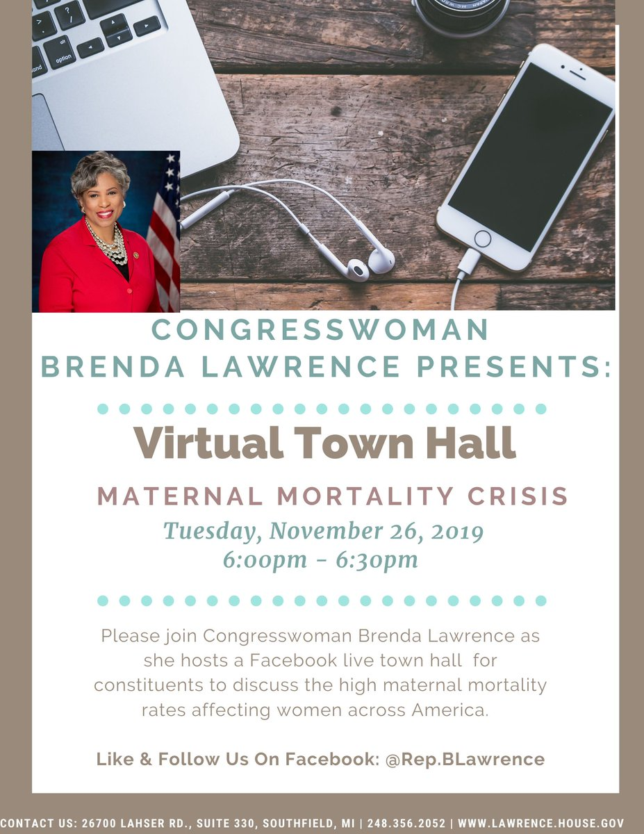 RT! We want to hear from you! Do you have questions regarding maternal mortality? Post your questions below for me to answer during my upcoming Facebook Live! #AskRepLawrence