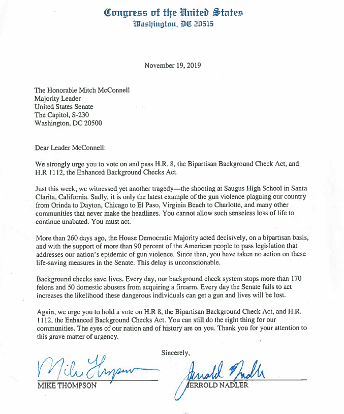 .@HouseDemocrats are urging Mitch McConnell to let the Senate take up our bipartisan legislation to help prevent gun violence. 265+ days have passed since the House voted for universal background checks. We must keep fighting to pass this life-saving measure. Our letter: