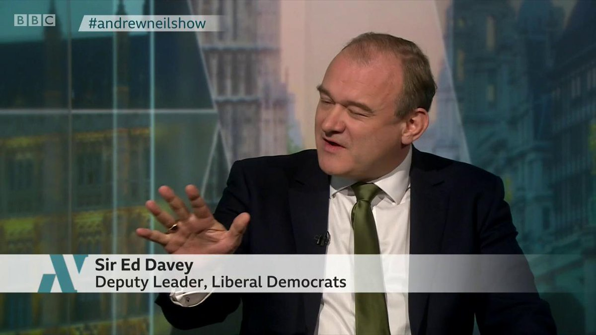 """""""I know you are in favour of legalising cannabis, you really think Boris Johnson is going to give you a second referendum?"""" @afneil """"You answer this question"""" Lib Dem deputy Ed Davey """"No, I ask the questions"""" says the #AndrewNeilShow presenter #Brexit bbc.in/335JdQG"""